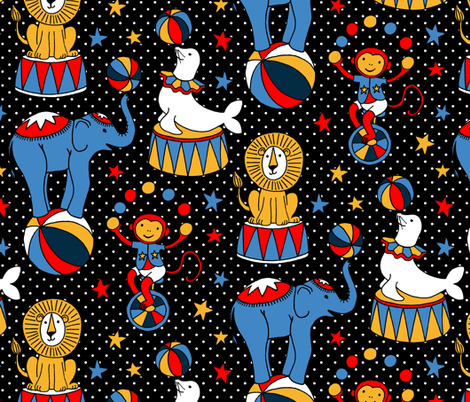 Circus Stars on Black  fabric by micklyn on Spoonflower - custom fabric