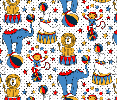 Circus Stars on White  fabric by micklyn on Spoonflower - custom fabric