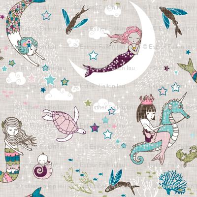 Mermaid Lullaby (plum/teal/olive) SMALL