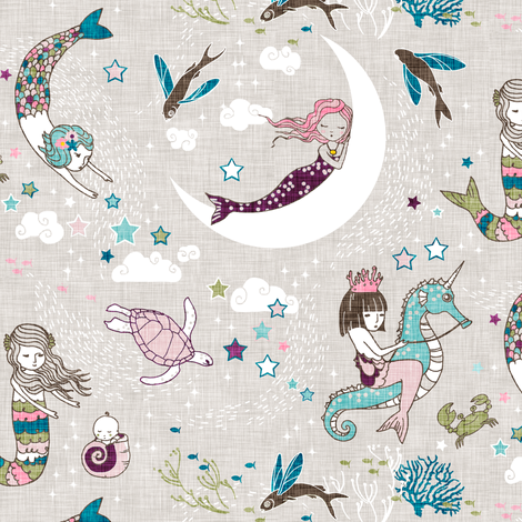 Mermaid Lullaby (plum/teal/olive) SMALL fabric by nouveau_bohemian on Spoonflower - custom fabric