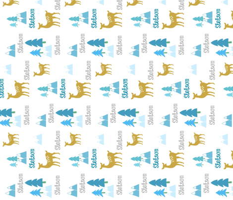Meadow Deer -blue multi-VERTICAL personalized for STETSON fabric by drapestudio on Spoonflower - custom fabric