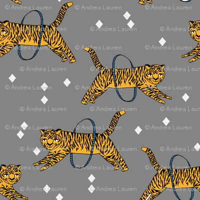 tiger fabric // circus nursery baby design circus - grey and yellow