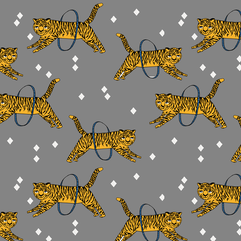tiger fabric // circus nursery baby design circus - grey and yellow fabric by andrea_lauren on Spoonflower - custom fabric