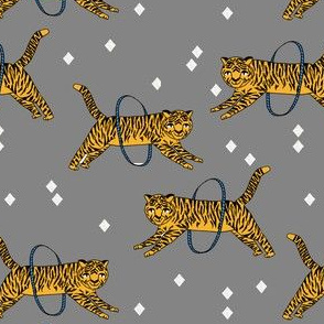 tiger fabric // circus nursery baby design circus - grey and yellow