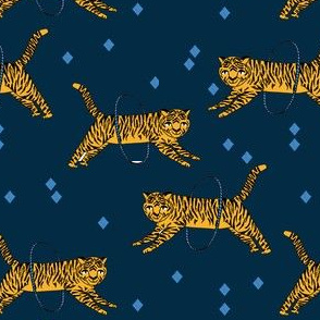 tiger fabric // circus nursery baby design circus - navy
