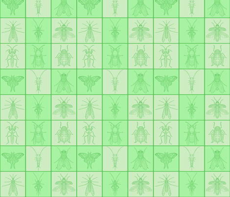 Green Bug Tile Grid fabric by antonybriggs on Spoonflower - custom fabric