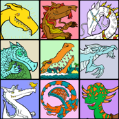 Cartoon Dragon Grid