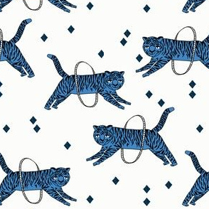 tiger fabric // circus nursery baby design circus - blue