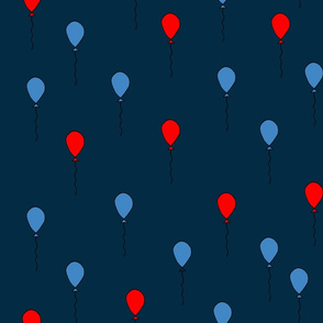 balloons fabric // balloon nursery baby primary colors design - red navy blue