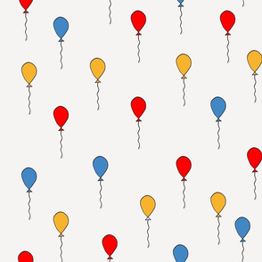balloons fabric // balloon nursery baby primary colors design - red yellow blue