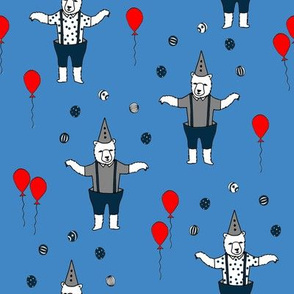 circus bear // bear nursery baby fabric juggler sideshow bears design - blue