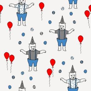 circus bear // bear nursery baby fabric juggler sideshow bears design - off-white