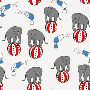 circus elephant fabric // circus animals blue and grey - blue