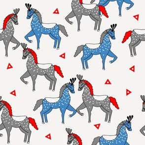 circus horse fabric // circus show horse nursery baby - blue and red