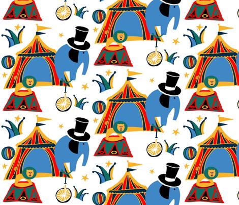 Retro Circus white fabric by bruxamagica on Spoonflower - custom fabric