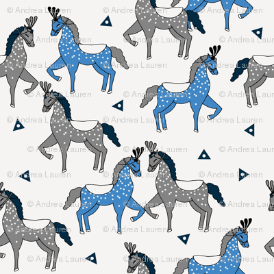 circus horse fabric // circus show horse nursery baby - blue and grey