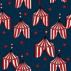 circus tent // circus tents sideshow circus nursery baby fabric - navy and red