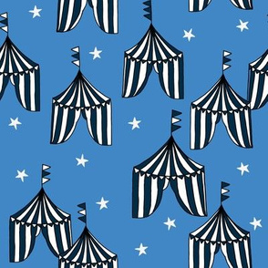 circus tent // circus tents sideshow circus nursery baby fabric - blue and navy