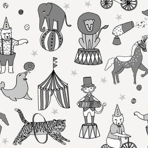circus design // circus animals lion tiger elephant star stripes circus - grey and white