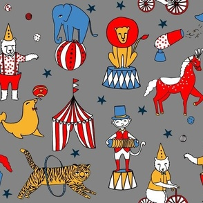 circus design // circus animals lion tiger elephant star stripes circus - grey