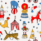 circus design // circus animals lion tiger elephant star stripes circus - white
