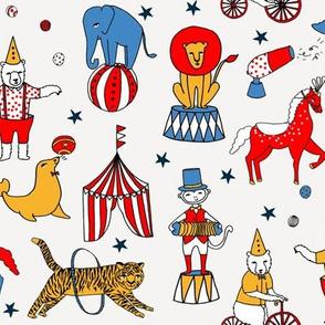 circus design // circus animals lion tiger elephant star stripes circus - white
