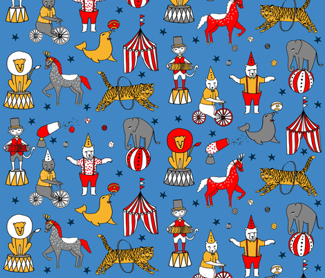 circus design // circus animals lion tiger elephant star stripes circus - blue fabric by andrea_lauren on Spoonflower - custom fabric