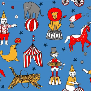circus design // circus animals lion tiger elephant star stripes circus - blue