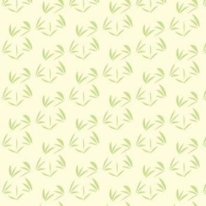 Cool Spring Green OrientalTussocks on Magnolia Cream - Extra Small Scale