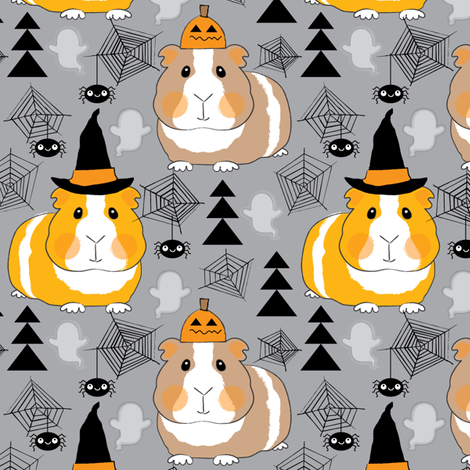 halloween guinea pigs on charcoal fabric by lilcubby on Spoonflower - custom fabric