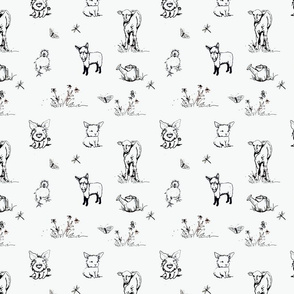 Toile farm babies on white