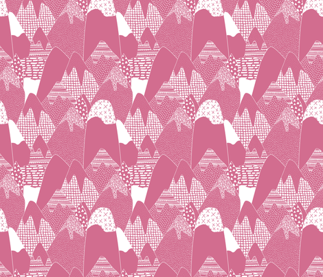 Abstract monochrome mountains landscape crosses texture pops paint and strokes spots pink fabric by littlesmilemakers on Spoonflower - custom fabric