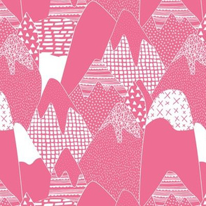 Abstract monochrome mountains landscape crosses texture pops paint and strokes spots pink