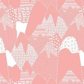 Abstract monochrome mountains landscape crosses texture pops paint and strokes spots peach pastel pink