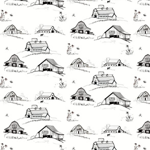 Toile Rustic Barns on white