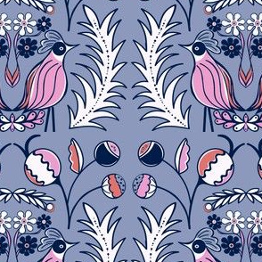 Mod Birds and Bloom lavender pink sewindigo
