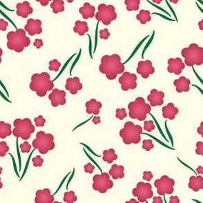 Magenta Bubble Flowers Floral Pattern