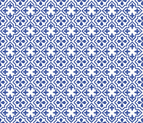 Delft Fleur fabric by lucielou on Spoonflower - custom fabric