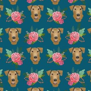 Airedale Terrier floral  cute dog fabric pattern blue
