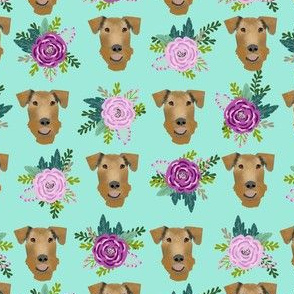 Airedale Terrier floral  cute dog fabric pattern mint
