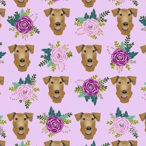Airedale Terrier floral  cute dog fabric pattern purple