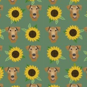 Airedale Terrier floral sunflowers cute dog fabric pattern green