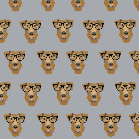 Airedale Terrier glasses cute dog fabric pattern grey fabric by petfriendly on Spoonflower - custom fabric