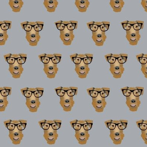 Airedale Terrier glasses cute dog fabric pattern grey