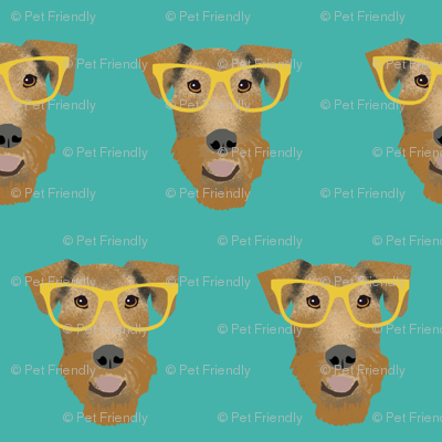 Airedale Terrier glasses cute dog fabric pattern teal