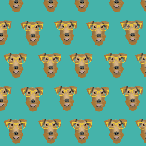 Airedale Terrier glasses cute dog fabric pattern teal fabric by petfriendly on Spoonflower - custom fabric