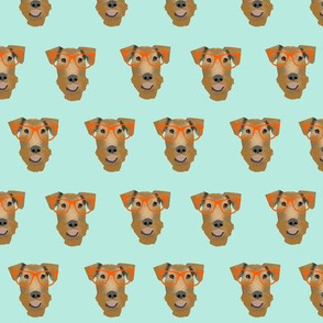 Airedale Terrier glasses cute dog fabric pattern mint