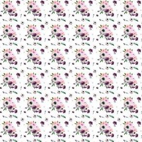 """1"""" Dark Floral Print in White"""