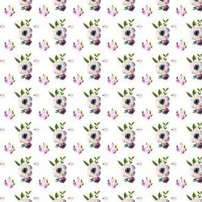 "1"" Dark Beauty Floral - Free Falling -White"