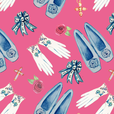 Jane Austen's jewellery, shoes and gloves / regency fashions and pretties fabric by magentarosedesigns on Spoonflower - custom fabric